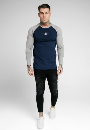 SQUARE HEM TEE - Long sleeved top - grey/navy