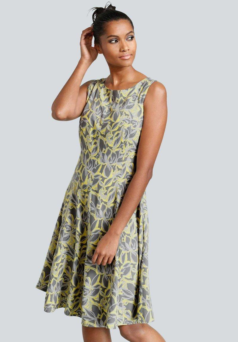 Alba Moda - Day dress - dunkelgrau,gelb,hellgrau
