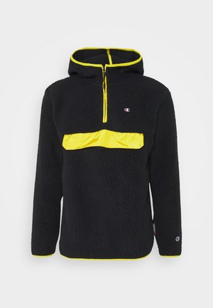 HOODED HALF ZIP - Sweat à capuche - black