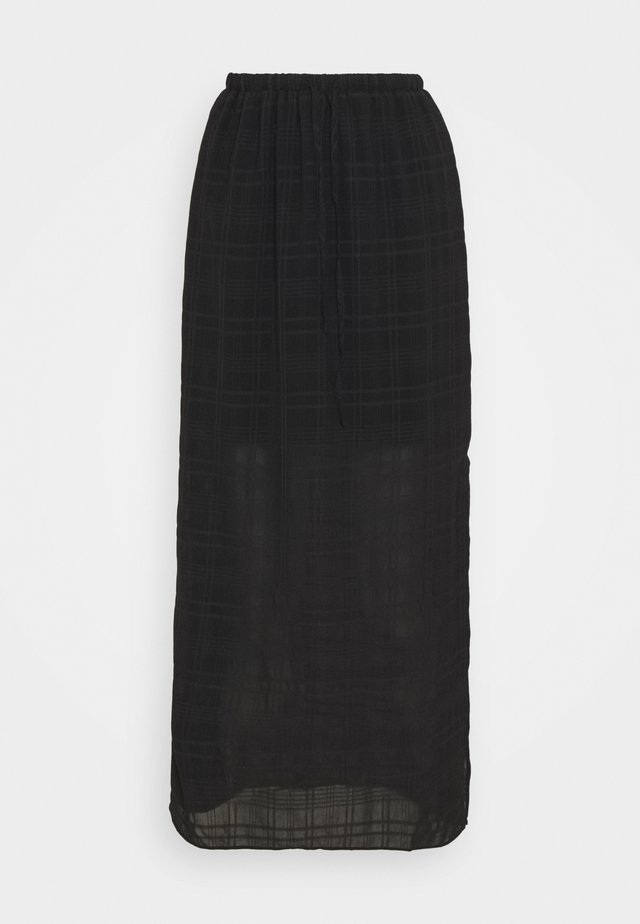 HIGH WAISTED MIDI SKIRT WITH SIDE SPLIT - Áčková sukně - black