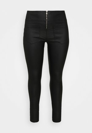 PCROXY ZIP COATED LEGGING  - Leggings - Trousers - black