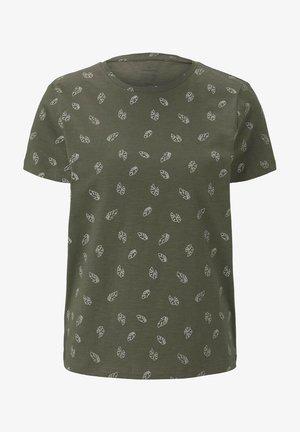Print T-shirt - green white leaves design