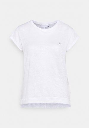 TURN UP CAP SLEEVE TEE - T-shirt imprimé - bright white