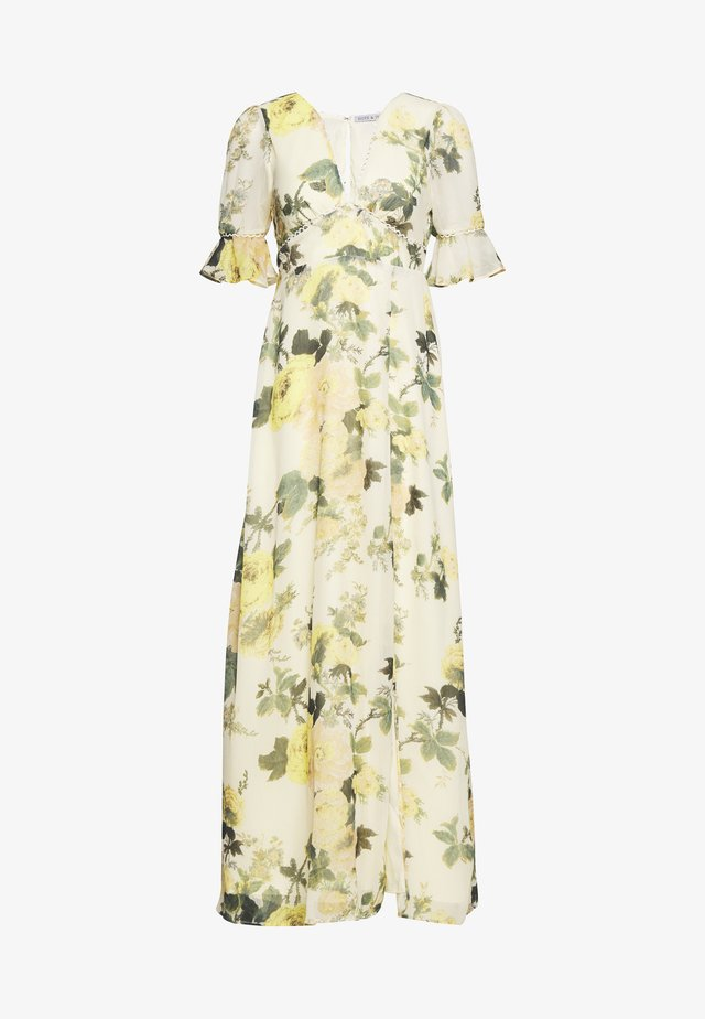 FLUTED SLEEVE OPEN BACK MAXI - Maxi-jurk - yellow