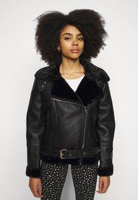 Topshop Petite - CASSY - Faux leather jacket - black - 4