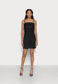 Topshop Petite - RUCHED BODYCON DRESS - Vestito elegante - black - 1