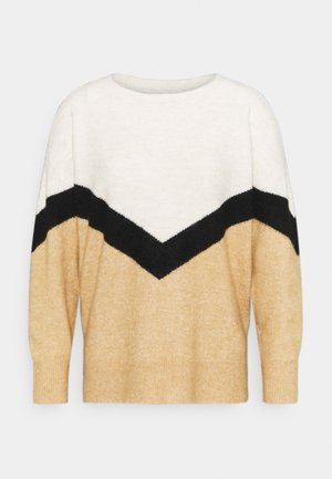 VMGINGOBLOCK ONECK - Jumper - tan/black/birch