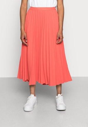 DAFFODIL PLEATED MIDI SKIRT - A-line skirt - spiced coral