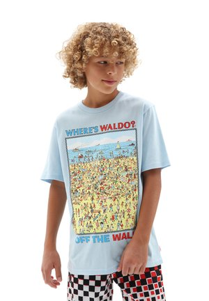 BY VANS X WHERES WALDO BEACH SS BOYS - T-shirt z nadrukiem - light blue