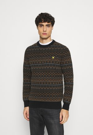 FAIR ISLE JUMPER - Stickad tröja - black