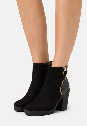 ABBY SIDE ZIP HEELED  - High heeled ankle boots - black