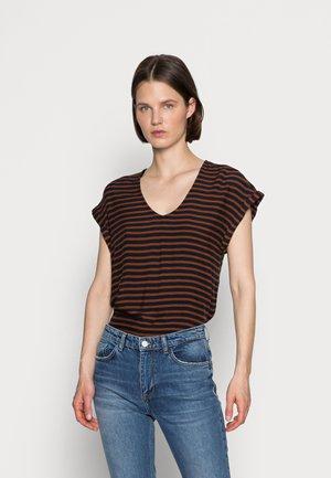 V NECK  - Print T-shirt - blue brown stripe