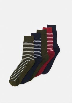 JACJONES THIN STRIP SOCK 5 PACK - Ponožky - brick red/navy blazer - olive night