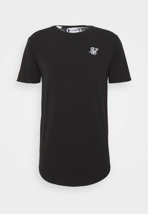 FLORAL ROLL SLEEVE TEE - T-shirt basic - black