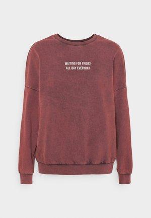 Printed Oversized Sweatshirt - Sweatshirt - bordeaux