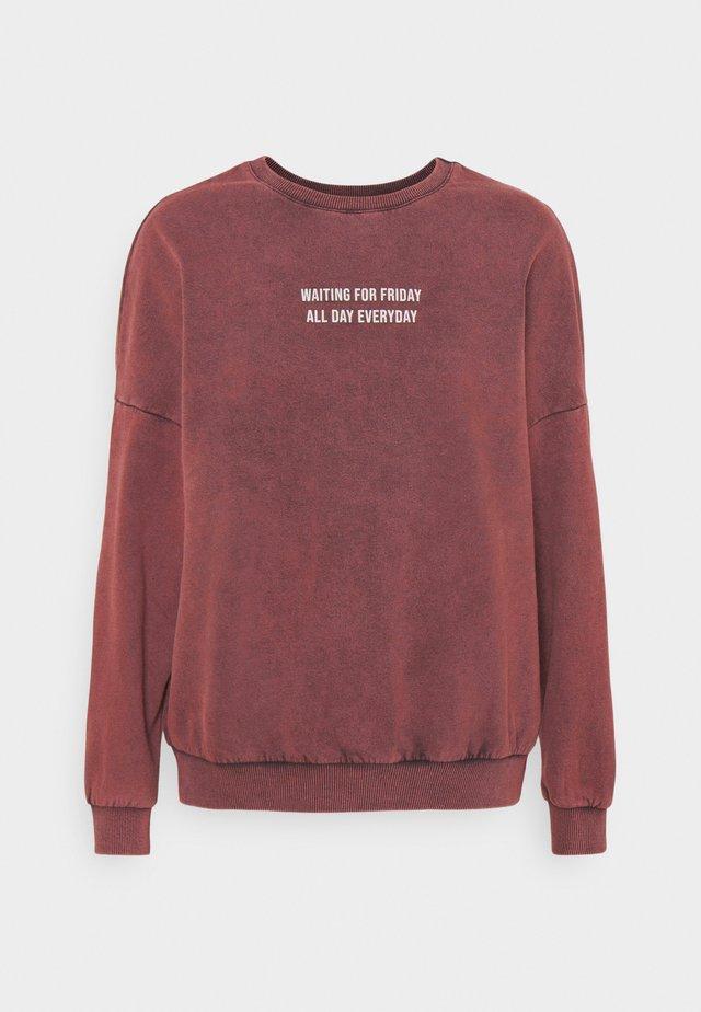 Printed Oversized Sweatshirt - Felpa - bordeaux