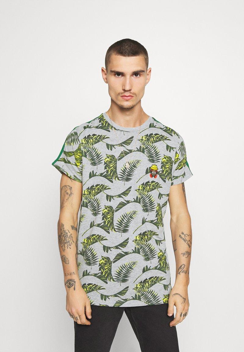 Brave Soul - FERNS - T-shirt print - grey/multi-coloured/bottle green/white