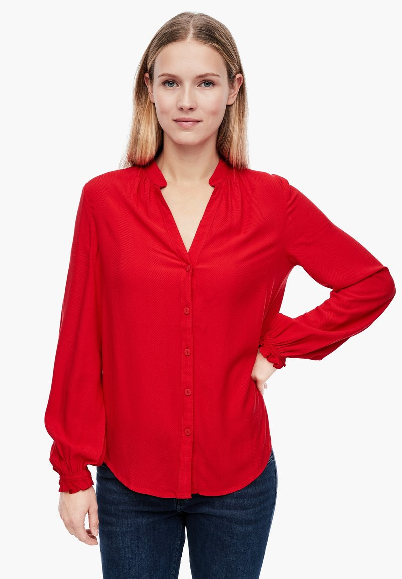 Q/S designed by - Button-down blouse - crimson red