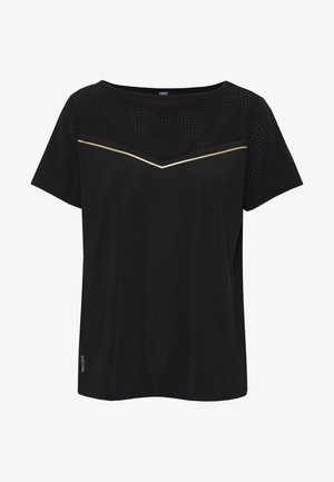 ONPJEWEL BOATNECK TRAINING TEE - Camiseta estampada - black/white/gold