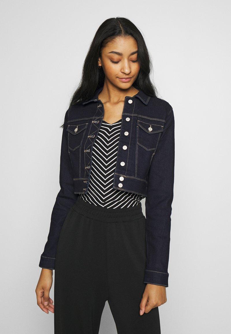 ONLY - ONLNEW WESTA CROPPED JACKET - Denim jacket - dark blue denim
