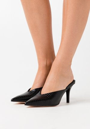POINTY SQUARED BACK MULES - Heeled mules - black