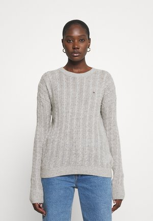 CABLE - Sweter - light grey heather