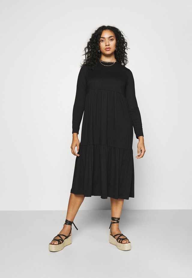 TIERED DRESS - Jersey dress - black