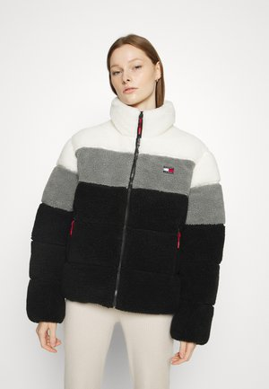 COLOR BLOCK MODERN PUFFER - Winter jacket - ivory/light asphalt/black