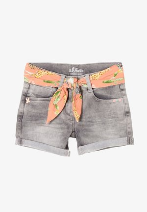 MIT TEXTILGÜRTEL - Denim shorts - light grey