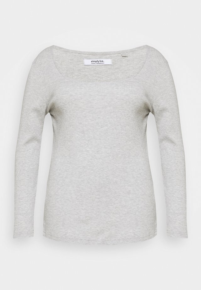 SQUARE NECK LONG SLEEVE - Long sleeved top - grey marl
