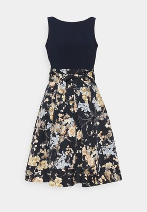 PRINTED FAILLE DRESS COMBO - Cocktailkjole - lighh navy/yellow