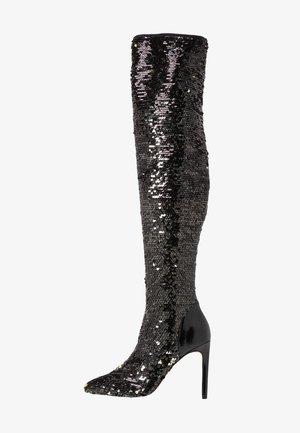 TEODARE - Laarzen met hoge hak - black/gold