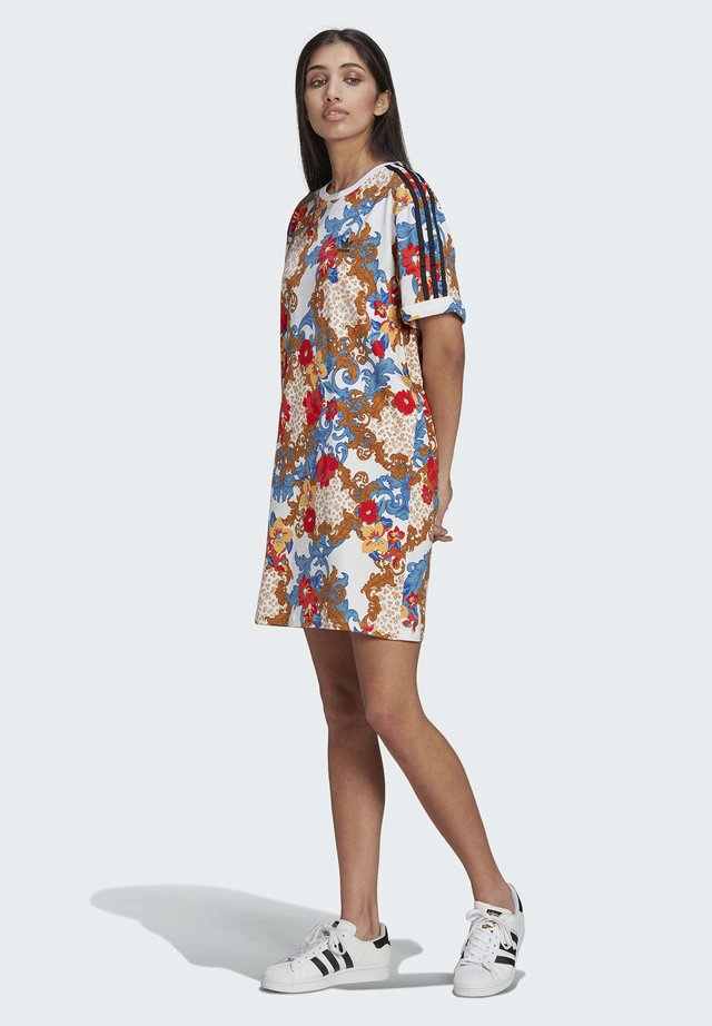 DRESS - Jersey dress - multicolor/white