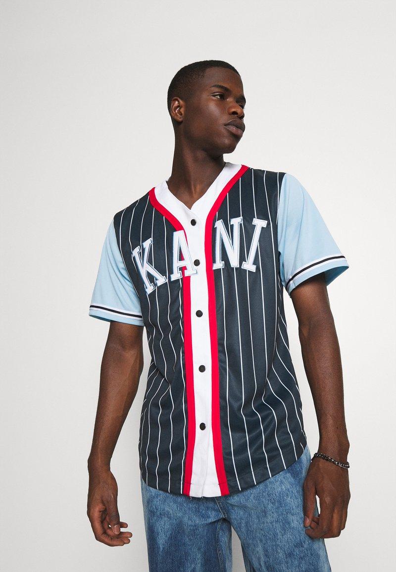 Karl Kani - COLLEGE BLOCK PINSTRIPE BASEBALL SHIRT - Shirt - navy