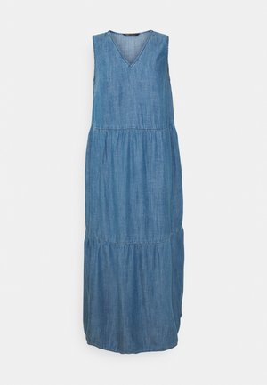 TIE NECK TIERED - Denimové šaty - blue
