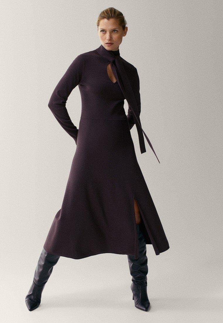 Massimo Dutti - Gebreide jurk - dark purple