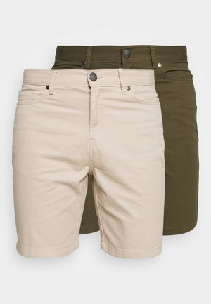 2 PACK - Shorts - stone/khaki