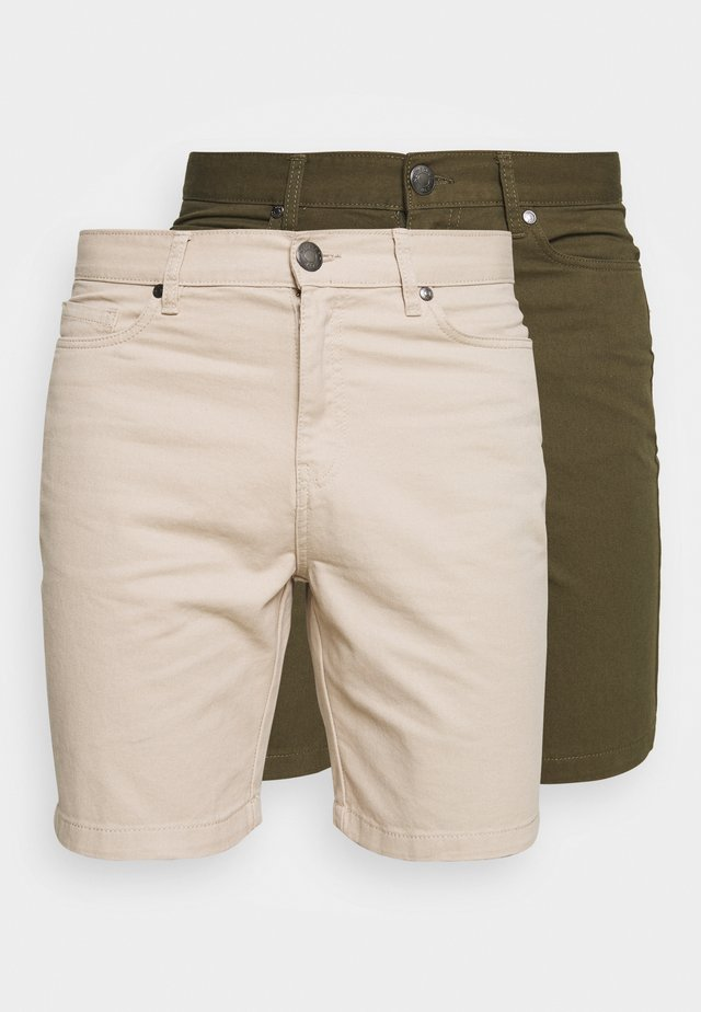 2 PACK - Shorts - stone/khaki