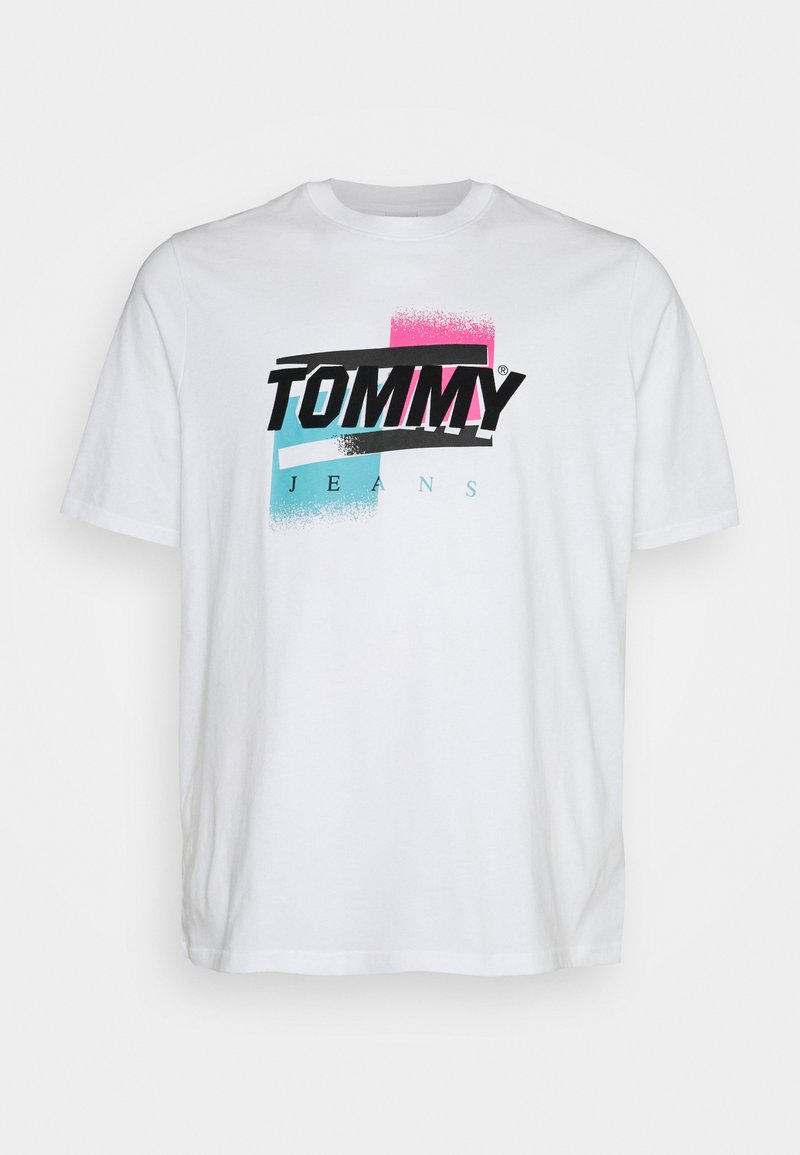 Tommy Jeans Plus - FADED COLOR GRAPHIC TEE - Print T-shirt - white