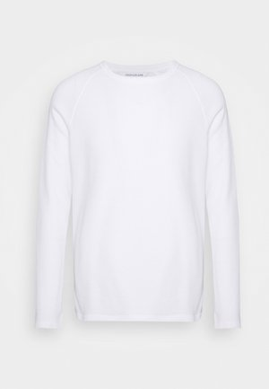 WAFFLE MONOGRAM SLEEVE SLIM - Top s dlouhým rukávem - bright white