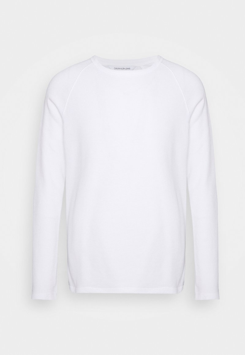 Calvin Klein Jeans - WAFFLE MONOGRAM SLEEVE SLIM - Long sleeved top - bright white