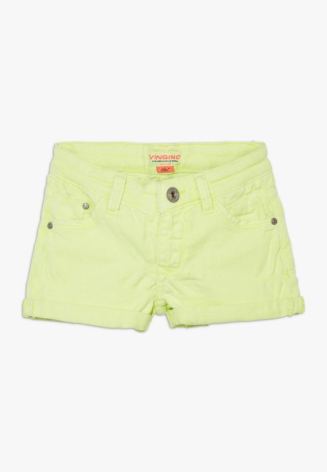 DELIA - Szorty jeansowe - neon yellow
