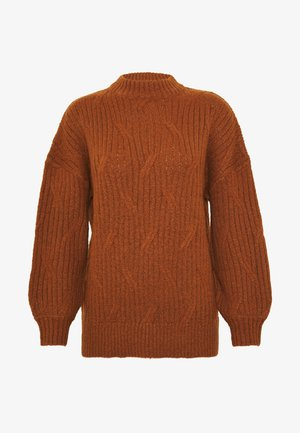 DIAGONAL DETAIL HIGH NECK JUMPER - Strikpullover /Striktrøjer - tobacco