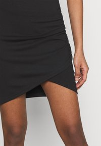 Even&Odd - Asymetric overlap wrap mini high waisted skirt - Pencil skirt - black - 3