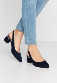 Dorothy Perkins - DOLLARCYCLINDER HEEL SLINGBACK COURT - Escarpins - navy - 0