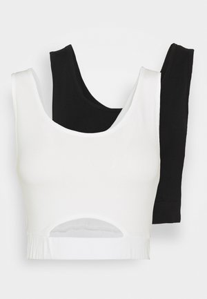 CROPPED HOLE 2 PACK - Top - black/white