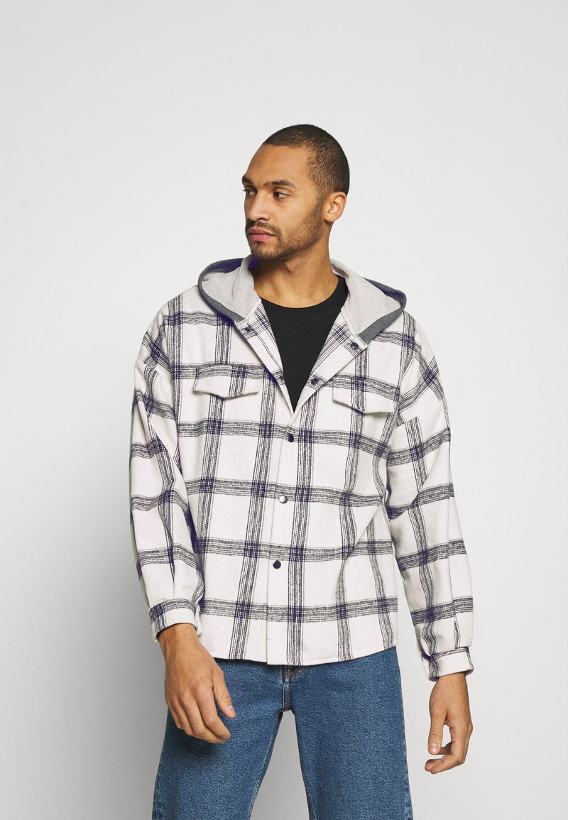 Sixth June - TARTAN WITH HOOD - Skjorta - white/grey