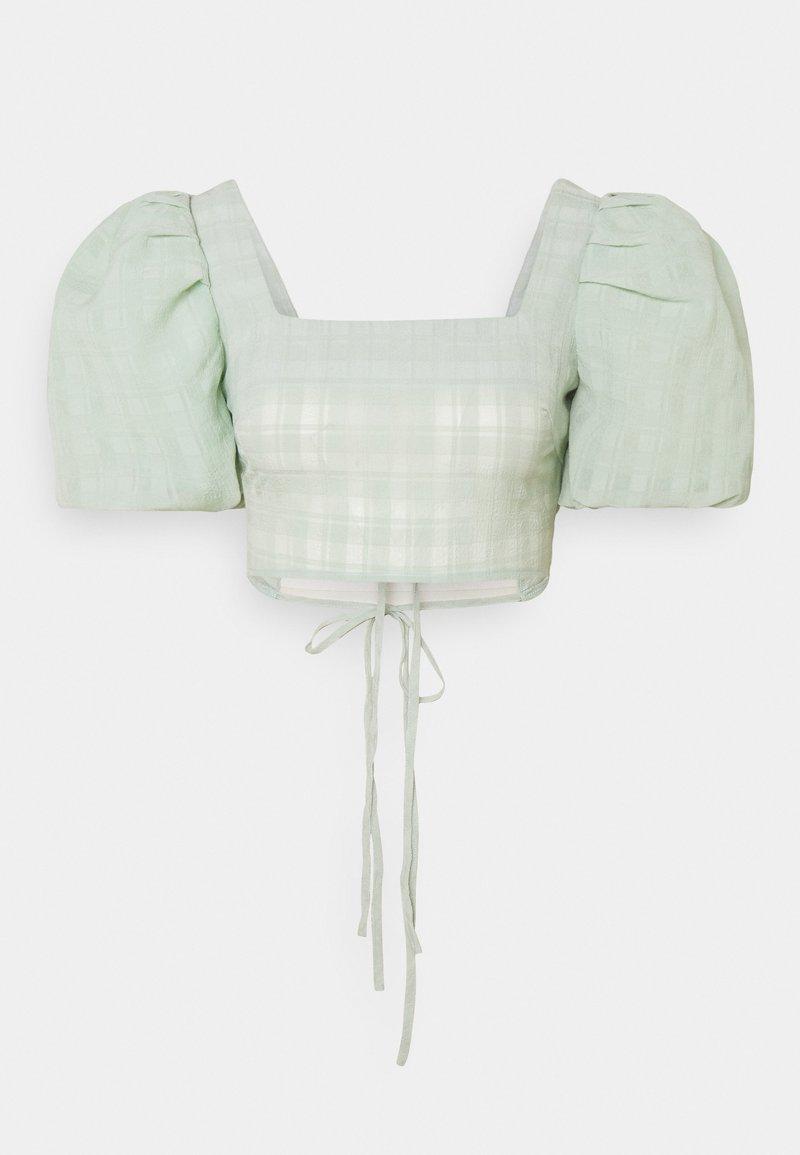 Missguided - PUFF SLEEVE TIE BACK DETAIL CROP - T-shirt imprimé - sage