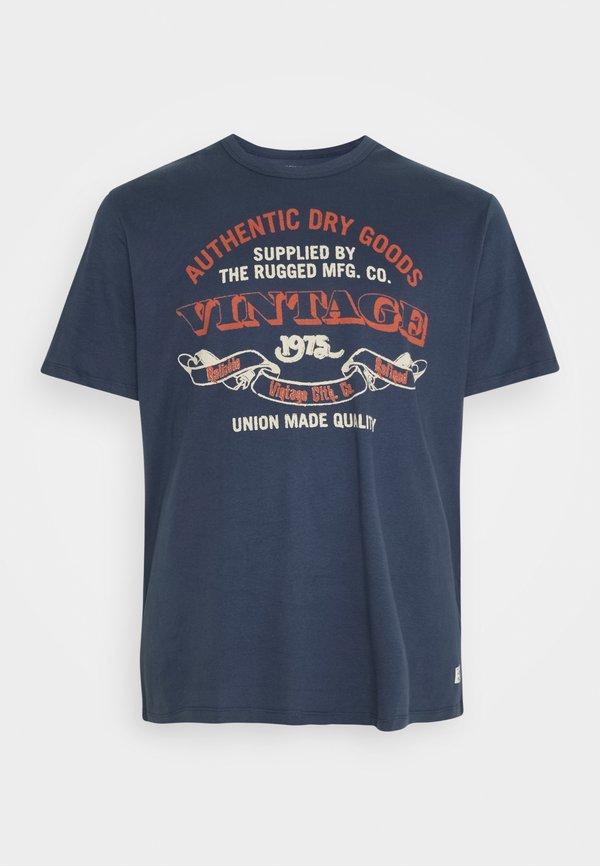 Jack & Jones RUNNER TEE CREW NECK - T-shirt z nadrukiem - mood indigo/niebieski Odzież Męska SXPD