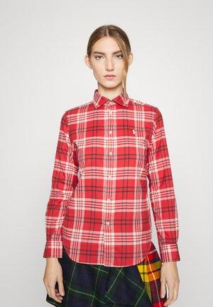 GEORGIA LONG SLEEVE - Button-down blouse - cream/red